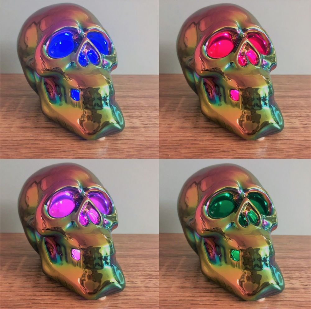 Ceramic Skull Multi Colour Changing LED Light Up Gothic Ornament